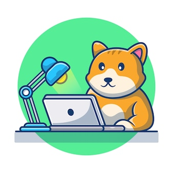 ラップトップに取り組んでいるかわいい猫。猫のアイコン漫画のコンセプト。動物のイラスト。フラット漫画スタイル