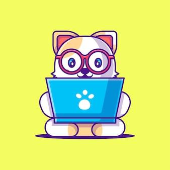 Милый кот работает с ноутбуком иллюстрации шаржа. концепция стиля животных плоский мультфильм