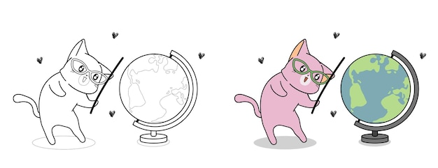 Cute cat and world map cartoon coloring page for kids