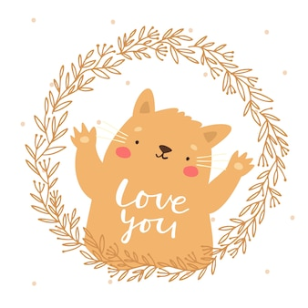 Cute cat in a wreath love you