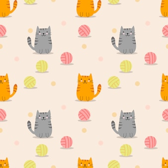 Cute cat and yarn ball seamless pattern.