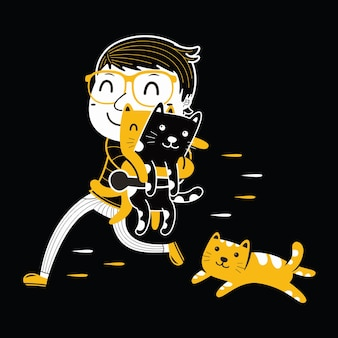 Cute cat and young man in flat design style