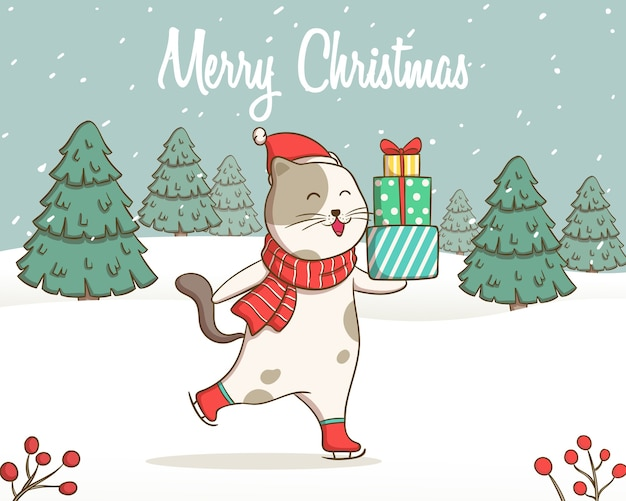 귀여운 케이트 그림 배경에 대 한 크리스마스 트리와 선물 상자를 가져