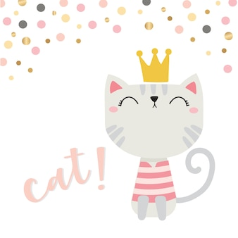 Cute cate with crown and happy face vector