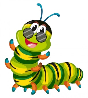 Cute caterpillar wearing glasses