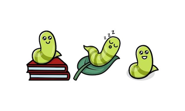 Cute caterpillar worm animal mascot logo design illustration
