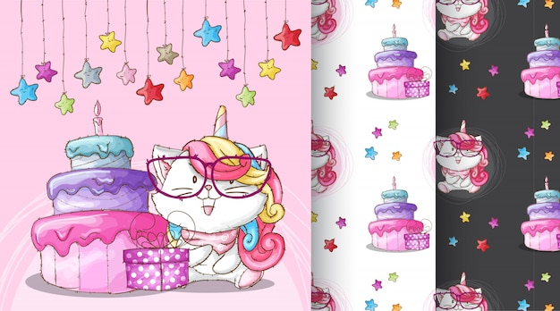 Cute caticorn birthday party pattern illustration