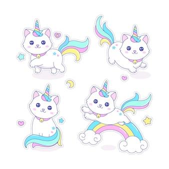 Милый котикорн кошка единорог векторные иллюстрации
