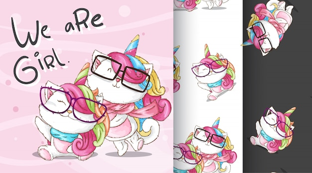 Cute caticorn pattern illustration
