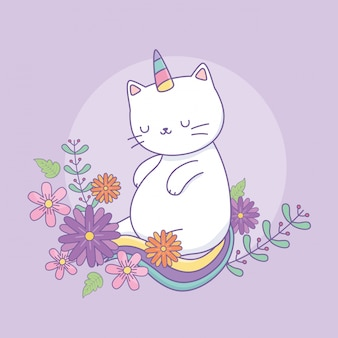 Cute caticorn with floral decoration
