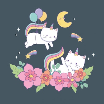Cute caticorns with floral decoration at night