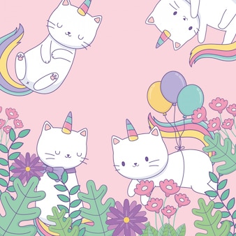 Cute caticorns with floral decoration