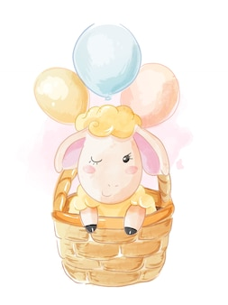 Cute catoon sheep in busket illustration