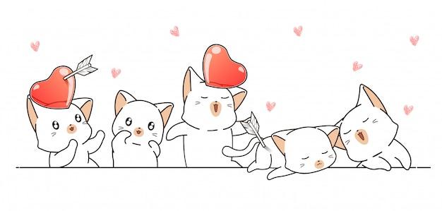 Симпатичные кошки и сердечки на белом баннере на день святого валентина