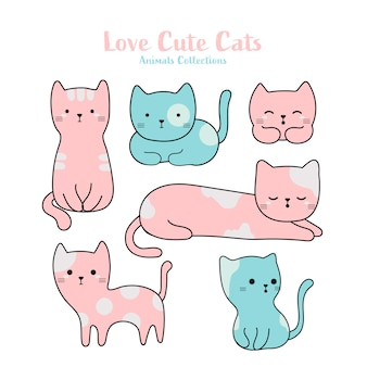 Cute cats animal hand drawn style