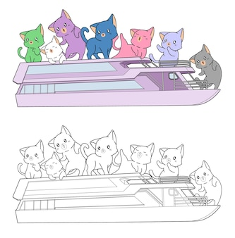 Cute cats are in ferryboat cartoon coloring page