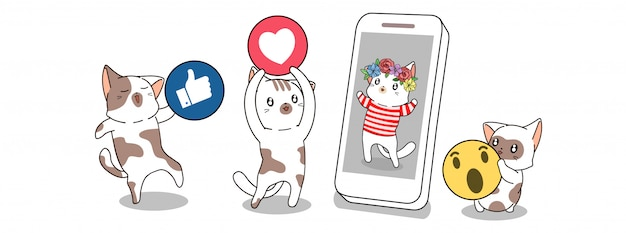Cute cats are giving social media icon to the other cat who is in smartphone