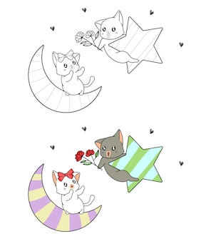 Cute cats are loving coloring page for kids