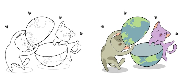 Cute cats are loving the world cartoon coloring page for kids