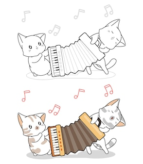 Cute cats are playing accordion cartoon coloring page