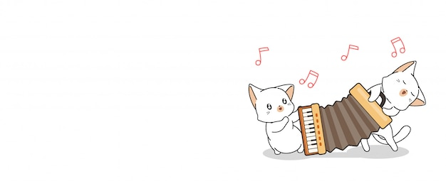 Cute cats are playing accordion illustration