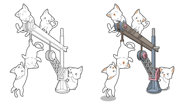 Cute cats are playing a crane cartoon coloring page for kids