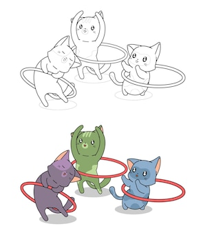 Cute cats are playing with the hula hoop fat cartoon coloring page for kids