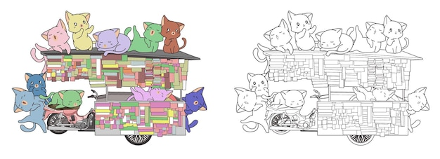 Cute cats are in portable stall cartoon coloring page