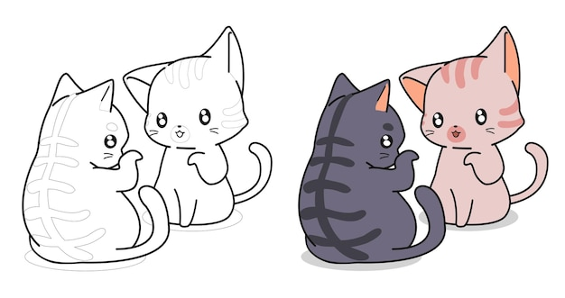 Cute cats are talking cartoon coloring page for kids