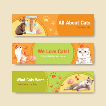 Cute cats banner templates
