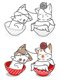 Cute cats in bowl are playing yarn cartoon coloring page
