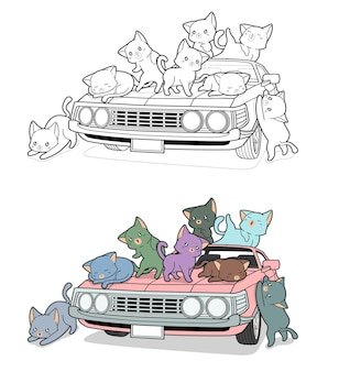 Cute cats on the car cartoon easily coloring page for kids