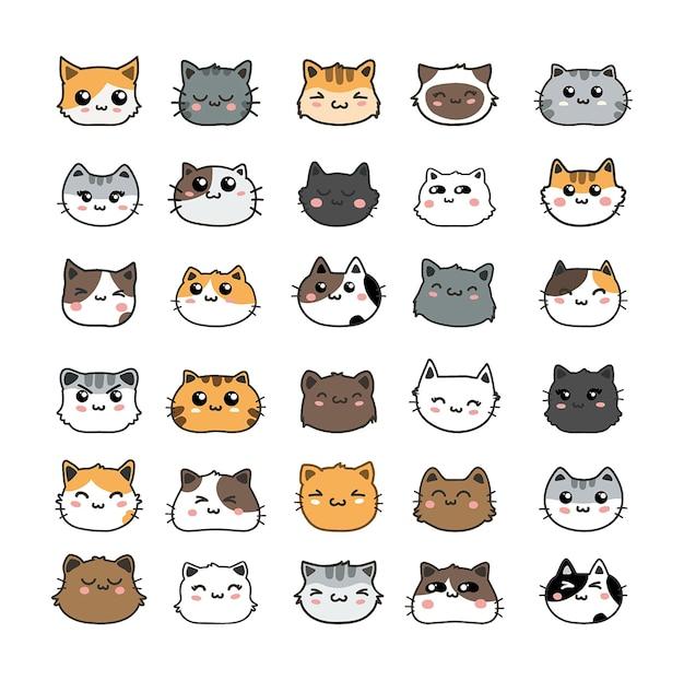 Милые кошки мультфильм набор векторных