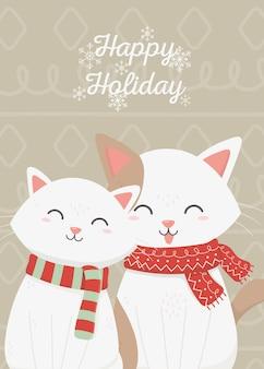 Cute cats celebration happy christmas card
