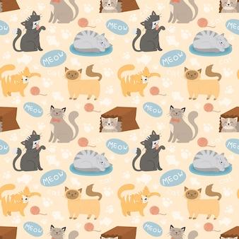 かわいい猫のキャラクターの異なるポーズのシームレスパターン