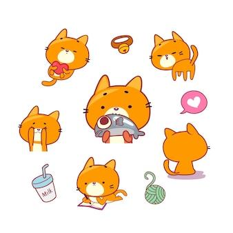 놀고 있는 귀여운 고양이 캐릭터들
