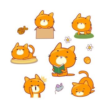 Симпатичные персонажи кошек, играющие вокруг