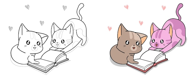 Cute cats and cherry cartoon coloring page for kids