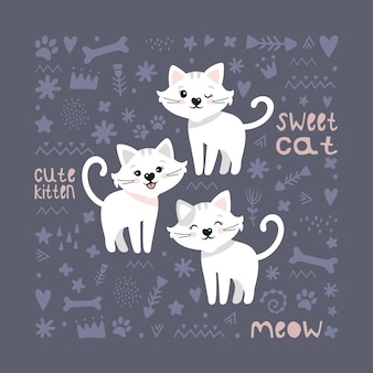 Cute cats. children's vector background. postcard, poster, clothing, fabric, wrapping paper, textiles.