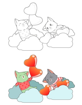 Cute cats on cloud with hearts cartoon coloring page for kids