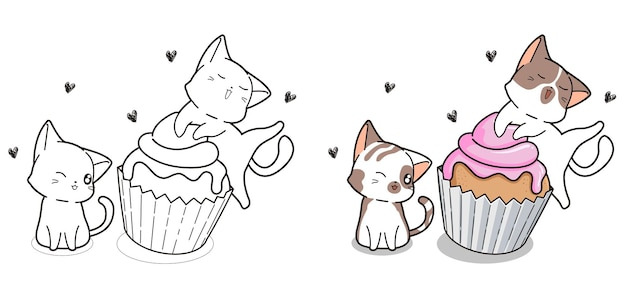 Cute cats and cup cake cartoon coloring page