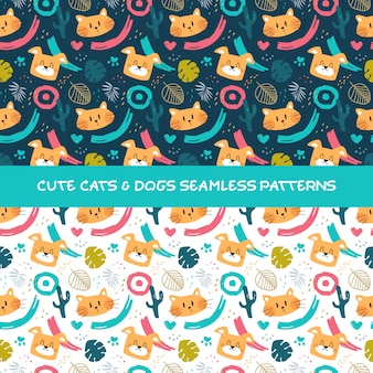 Cute cats and dogs seamless pattern
