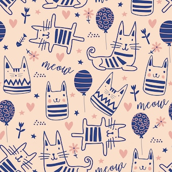 Cute cats doodle seamless pattern with funny characters