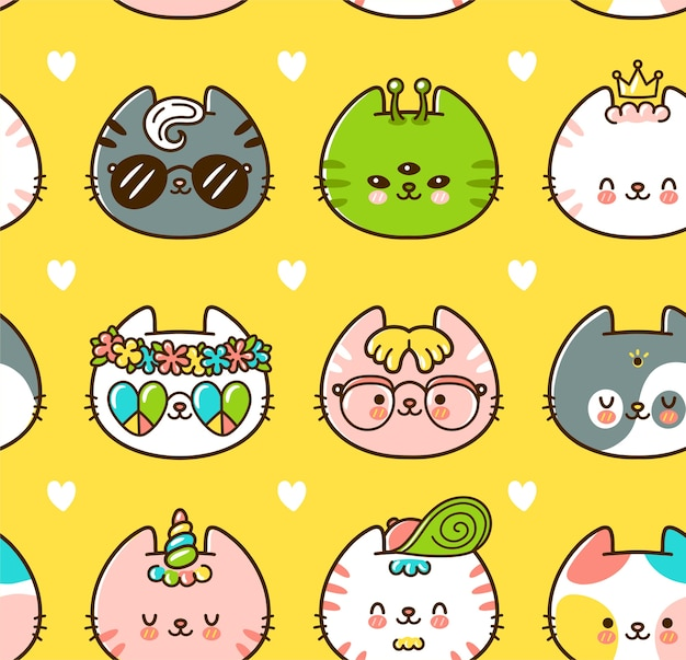 Cute cats faces seamless pattern.