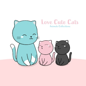 Cute cats family animal hand drawn style