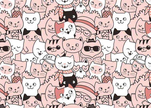 Cute cats fashion pattern doodle background