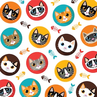 Cute cats and fishbone pattern
