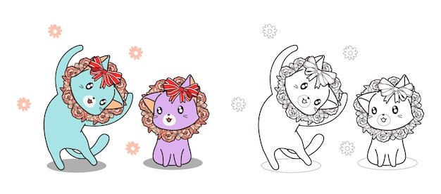 Cute cats and flowers are happiness cartoon coloring page