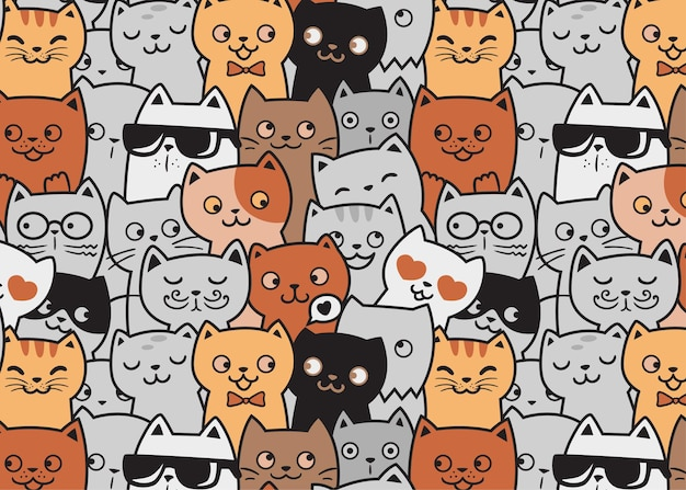 Cute cats funny pattern doodle background