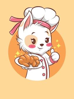Милые кошки девушка шеф-повар держит хлеб. концепция шеф-повара пекарни. мультипликационный персонаж и талисман иллюстрации.